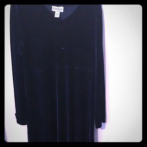 DRESS NORTH STYLE BLUE VELOUR XL A-LINE SLIM LONG